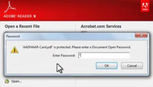 aadhar card password to open pdf file